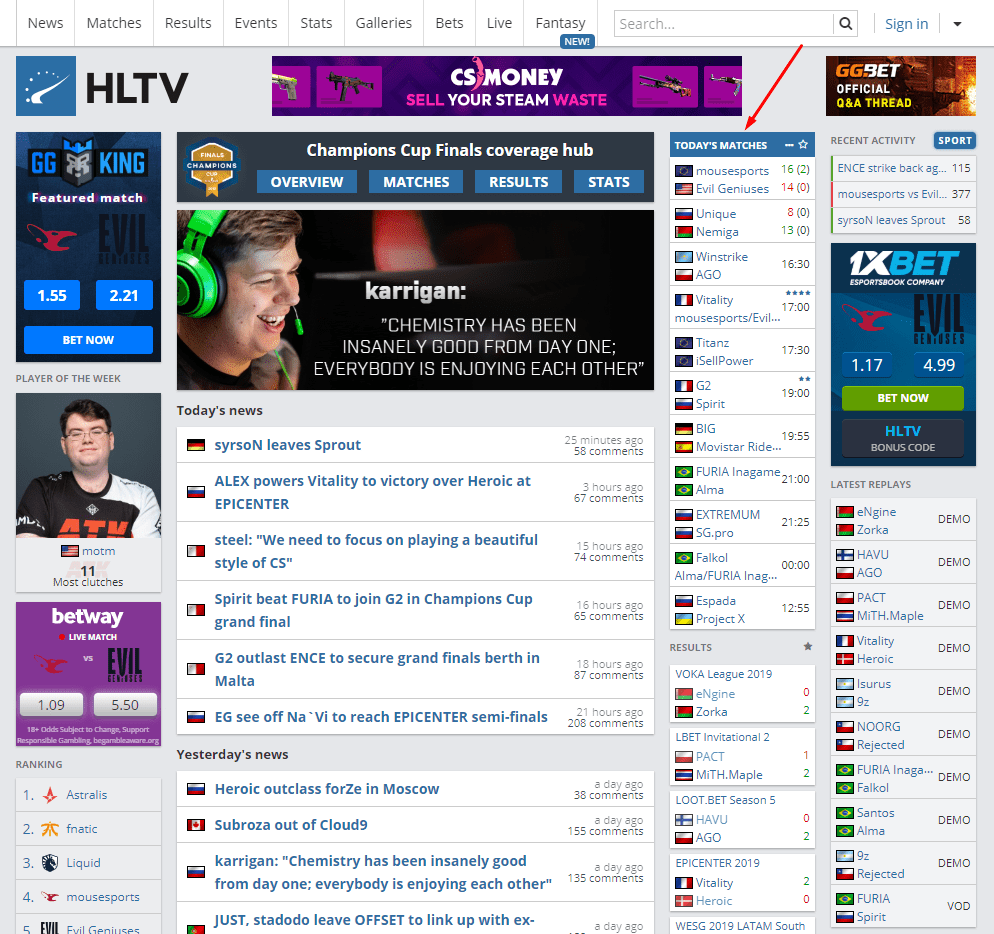hltv main page