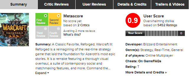 warcraft reforged metacritic